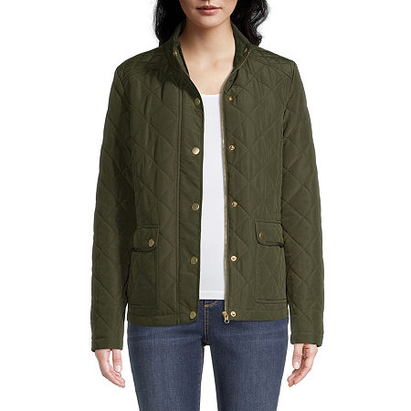 St. Johns Bay Lightweight Quilted Jacket, Large , Green