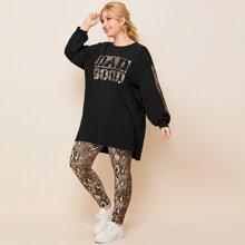Pullover mit Buchstaben Grafik & Leggings mit Schlangenleder Muster