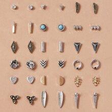 18pairs Heart Stud Earrings