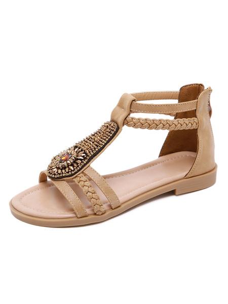 Milanoo Flat Sandals For Women Bohemian Buckle Flat Artwork PU Leather