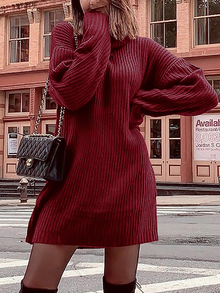 Yoins Turtleneck Long Sleeves Knitted Dress