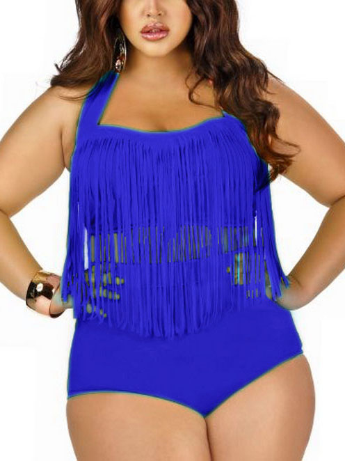 Retro Women Plus Size Tassel High Waist Bikini Set