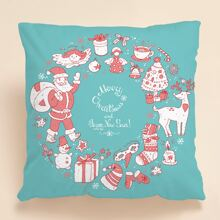 Christmas Cartoon Graphic Cushion Cover Without Filler