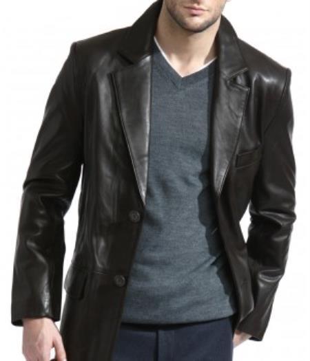 Men's Classic 2-Button Black Lambskin Leather Blazer Sports Jacket
