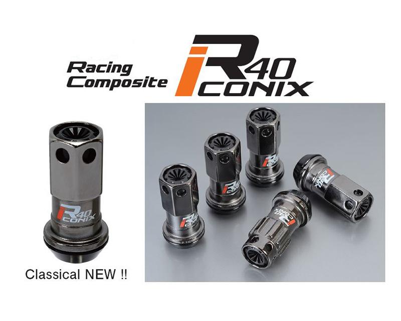 Project Kics R40 Iconix Classical M12x P1.5 Lock & Nut Set w/ Black Plastic Cap