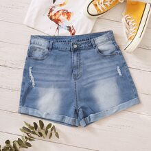 Shorts denim rotos bajo de doblez con lavado - grande
