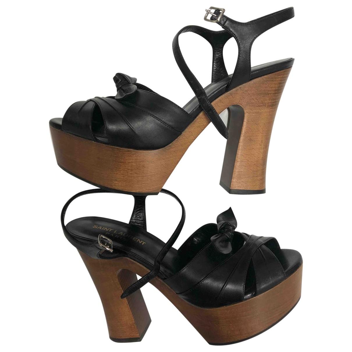 Saint Laurent - Sandales Farrah pour femme en cuir - noir