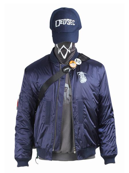 Milanoo Halloween Disfraz Watch Dogspoliuretano azul con Top+con gorra