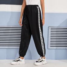 Star & Striped Print Side Sweatpants