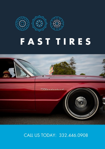 Professional Services Flat Business Greeting Cards, Business Printing -Fast Tires