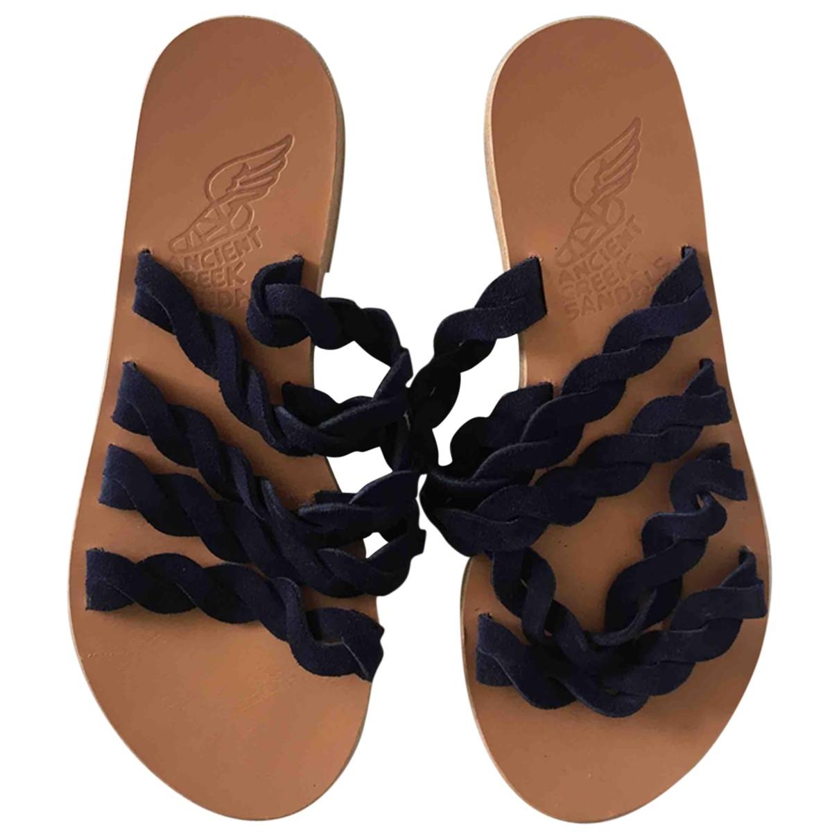 Ancient Greek Sandals \N Navy Suede Sandals for Women 35 EU
