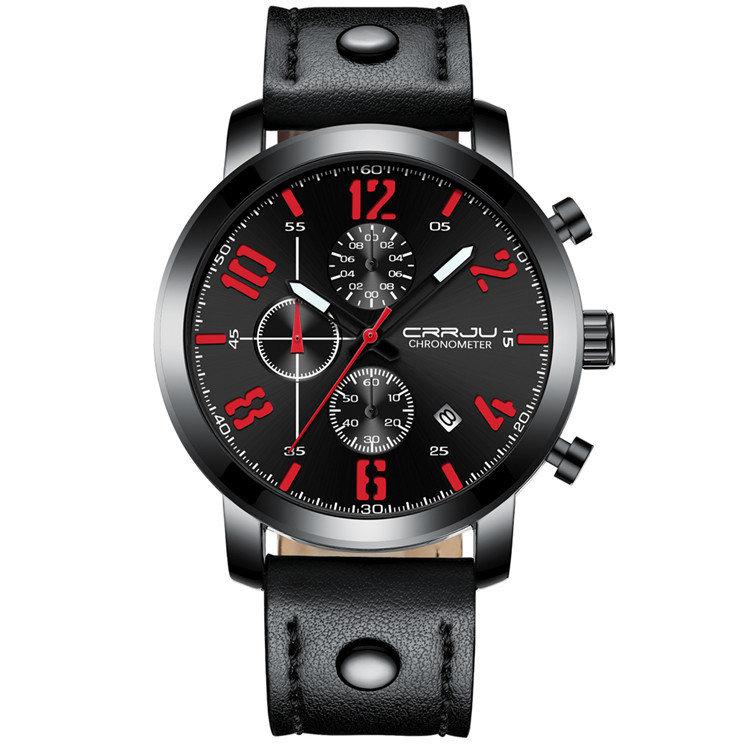 Sport Timing Waist Watch Leather Running Men Watch Multifunction Sport Men Quartz Watch