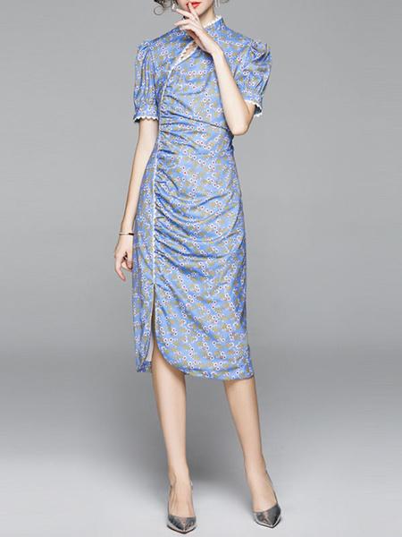 Milanoo Vestidos ajustados Manga corta azul Cuello alto Estampado floral Vestido tubo con abertura dividida