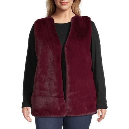 Liz Claiborne Faux Fur Vest - Plus, 2x , Red