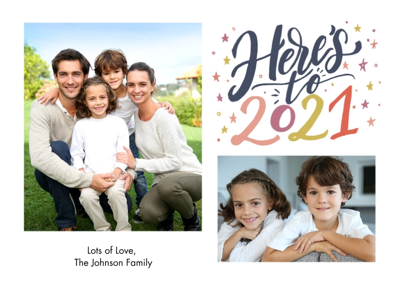 New Years Photo Cards Flat Glossy Photo Paper Cards with Envelopes, 5x7, Card & Stationery -Here is to 2021