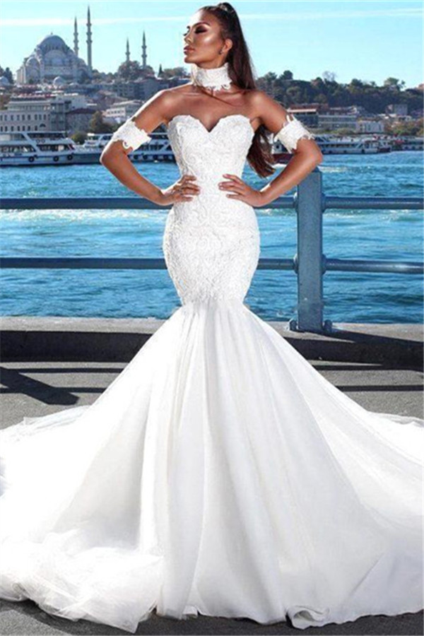 Vestidos de novia sexy sirena cariño   2021 vestidos de novia de encaje espalda abierta