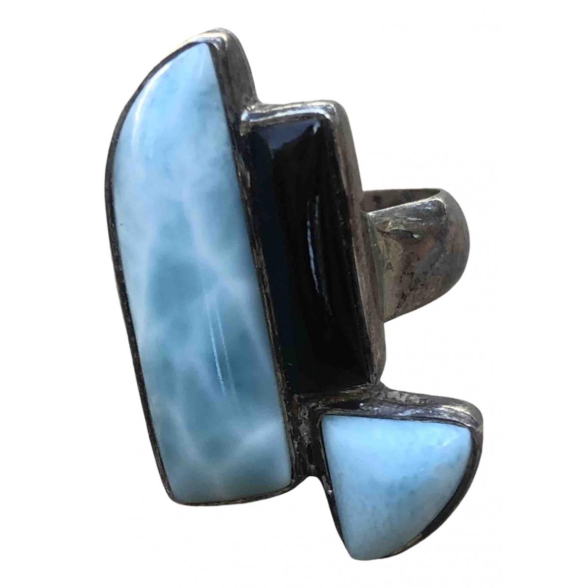 - Bague Art Deco pour femme en argent - bleu