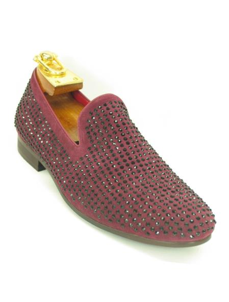 Mens Burgundy Fashionable Slip On Style Crystal Shoes