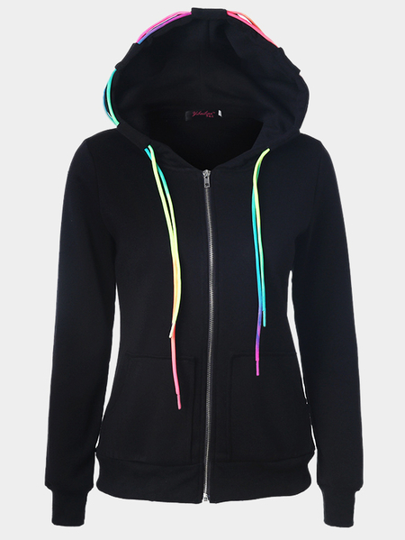Yoins Crew Neck Hoodie with Front Pocket in Black