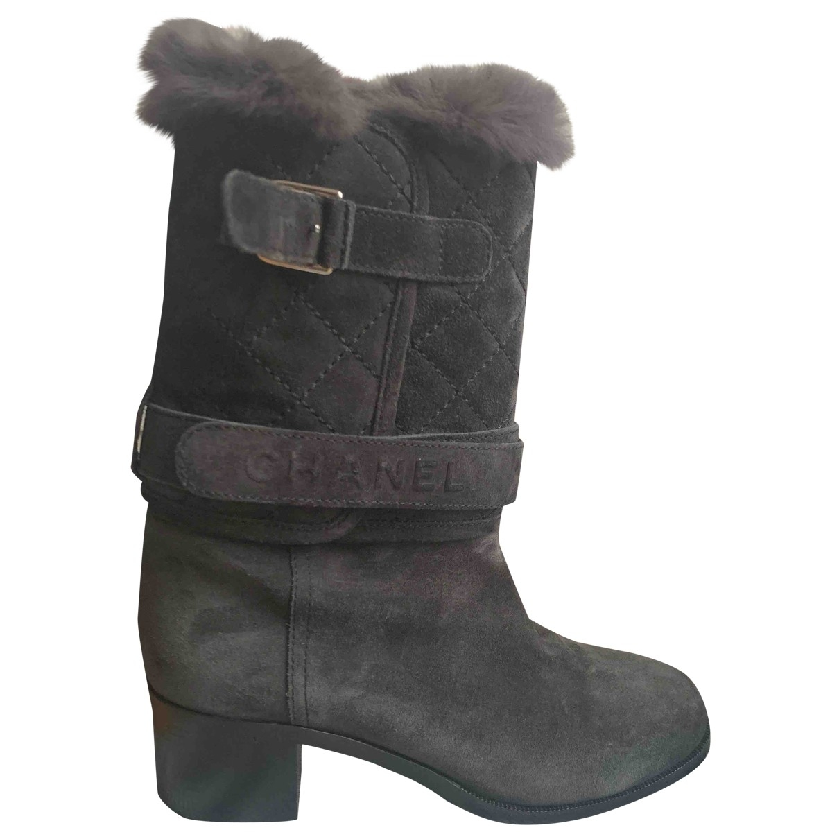 Chanel \N Anthracite Suede Boots for Women 39 EU