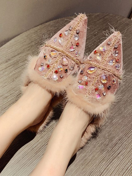 Milanoo Suede Women Loafers Pointed Toe Rhinestones Fur Detail Slip On Shoes