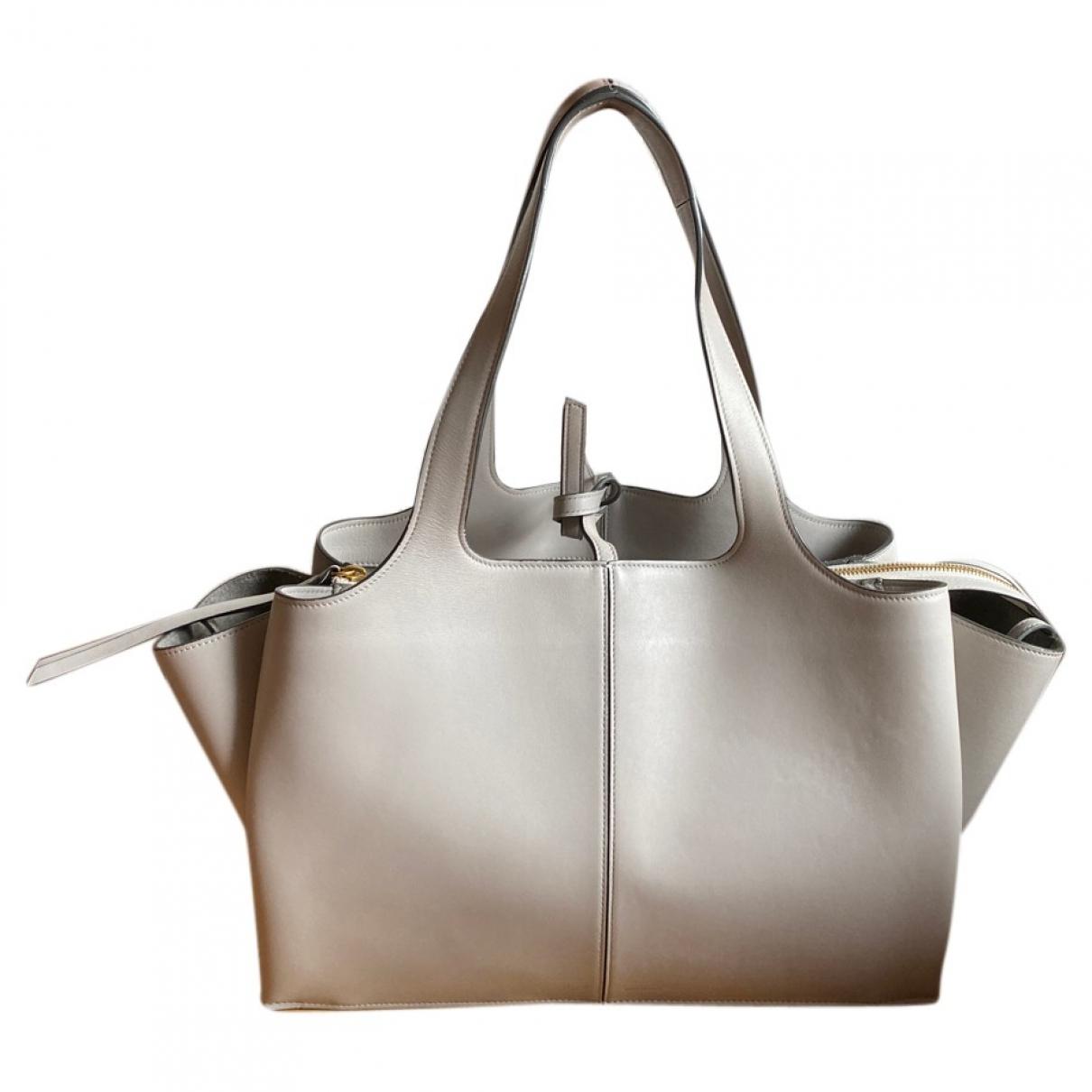 Celine - Sac a main Tri-Fold pour femme en cuir - gris