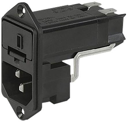 Schurter C14 Screw Mount IEC Connector Male, 10 (IEC) A, 13 (UL & CSA) A, 125 V ac, 250 V ac, Fuse Size 6.3 x 32mm