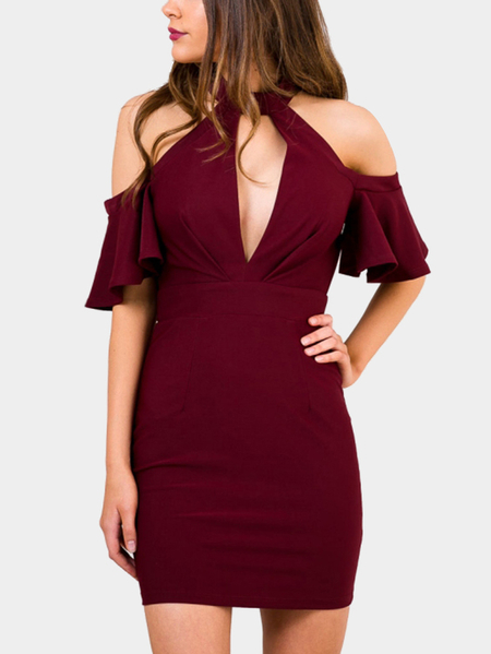 Yoins Wine Red Bodycon Cold-ShoulderMini Dress