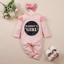 Baby Girl Slogan Graphic Ruffle Trim Jumpsuit With Headband