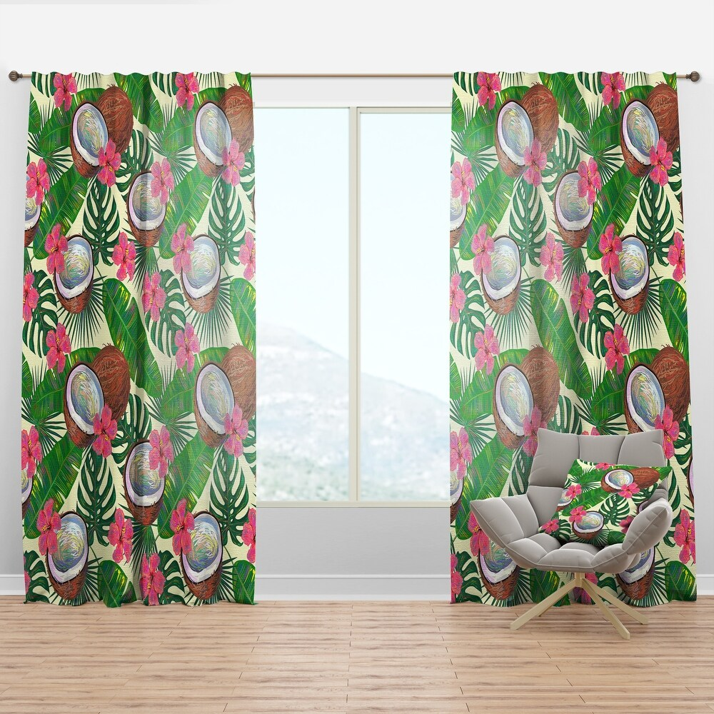 Designart 'Tropical Cooconut and Jungle Flowers' Mid-Century Modern Curtain Panel (50 in. wide x 120 in. high - 1 Panel)