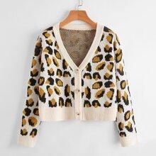 Leopard Pattern Crop Cardigan
