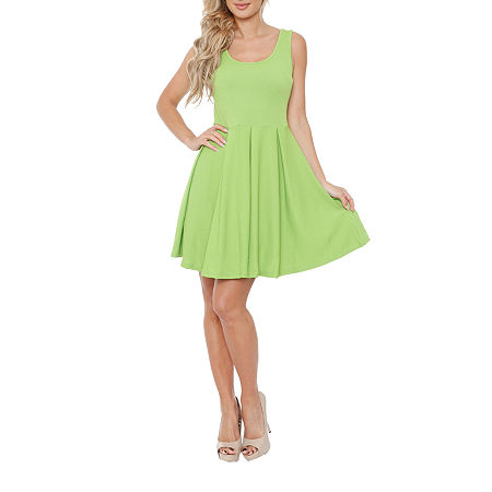 White Mark Crystal Sleeveless Fit & Flare Dress, Small , Green