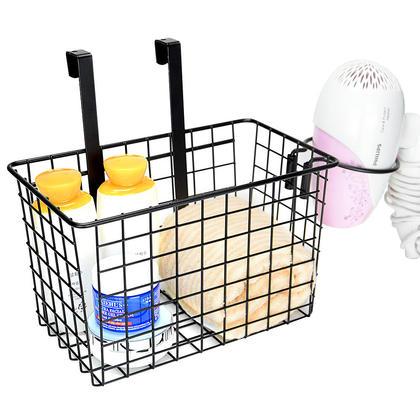Storage Basket Over Cabinet Door Kitchen Organizer Basket With Hair Dryer Holder - SortWise™