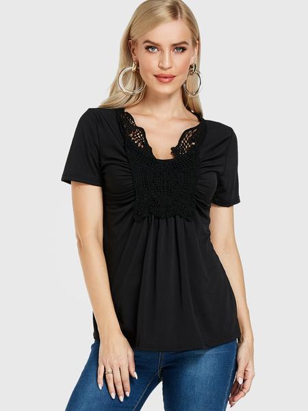 Yoins Black Crochet Lace Embellished Round Neck Blouse