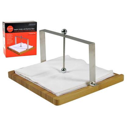 Porte-serviettes en acier inoxydable avec base en bambou 7.5