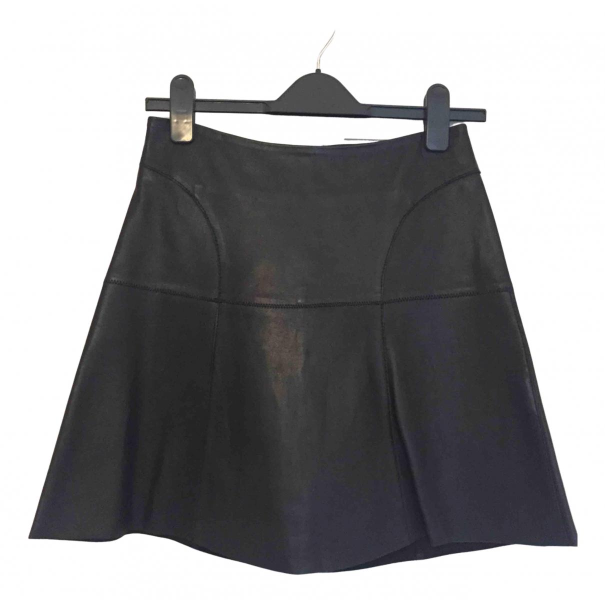 Reiss - Jupe   pour femme en cuir - noir