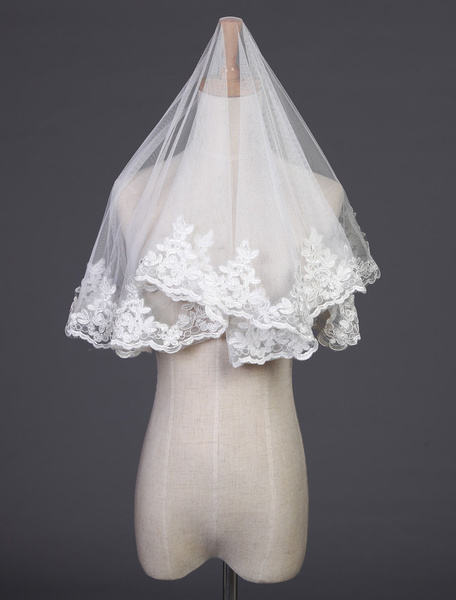 Milanoo Tulle Wedding Veil One-Tier Lace Applique Edge Oval Veil For Bride