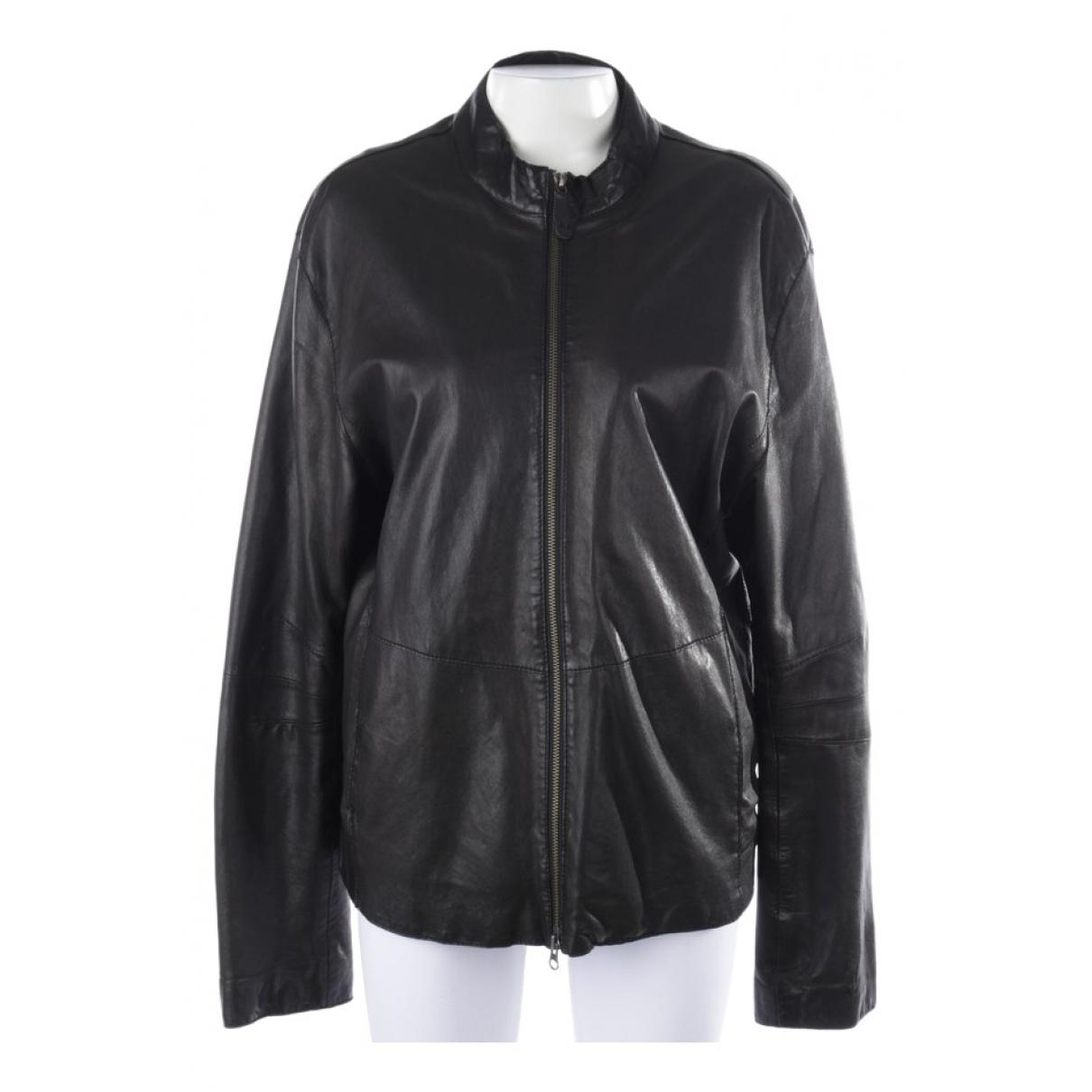 Armani Jean - Veste   pour femme en cuir - noir