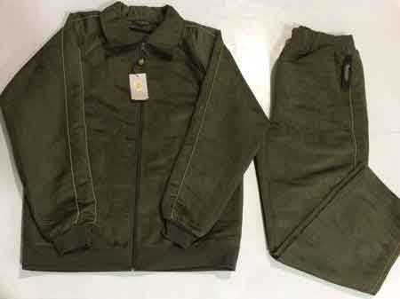 Mens Olive Suede Solid Long Sleeve Track Set Jogging Jacket With Pant