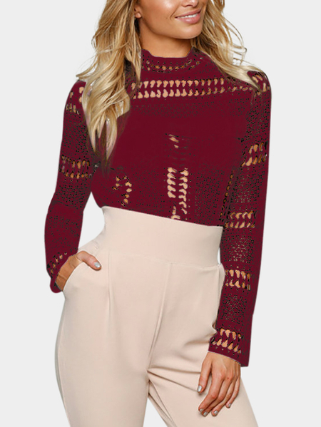 Yoins Burgundy Lace Blouse with Hollow Design