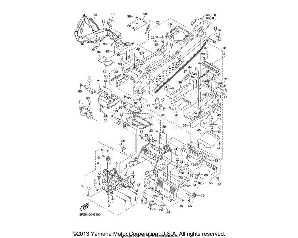 Yamaha OEM 8FS-21943-00-00 BRACKET, MAIN TRACK 1