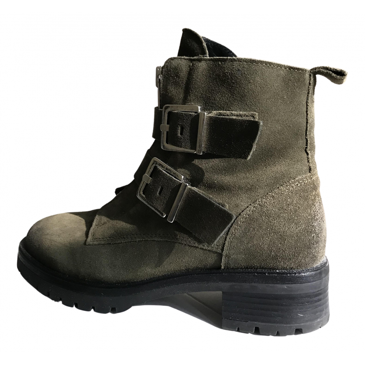 Non Signé / Unsigned \N Khaki Suede Ankle boots for Women 39 EU