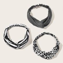 3pcs Leopard & Striped Pattern Headband