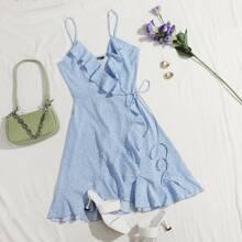 Slip Kleid mit Raffungsaum, Wickel Design, seitlichem Band und Bluemchem Muster