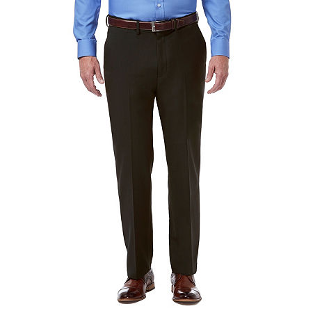 Haggar Premium Comfort Dress Pant Classic Fit Flat Front, 38 34, Brown