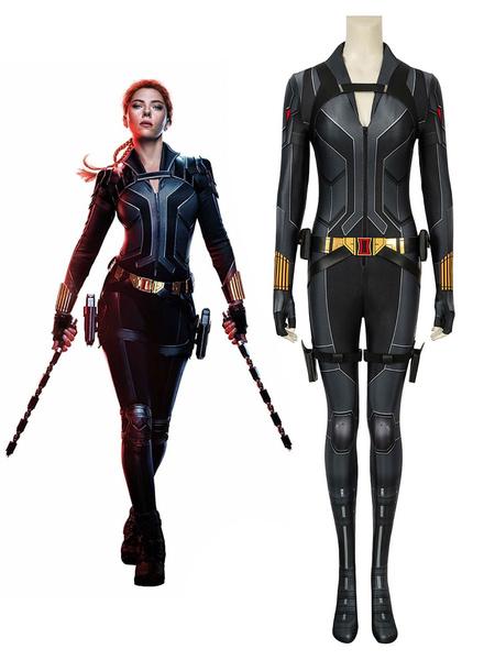 Milanoo Marvel Comics Marvel Comics Black Widow Natasha Romanova Cosplay Costume Black Catsuits Zentai