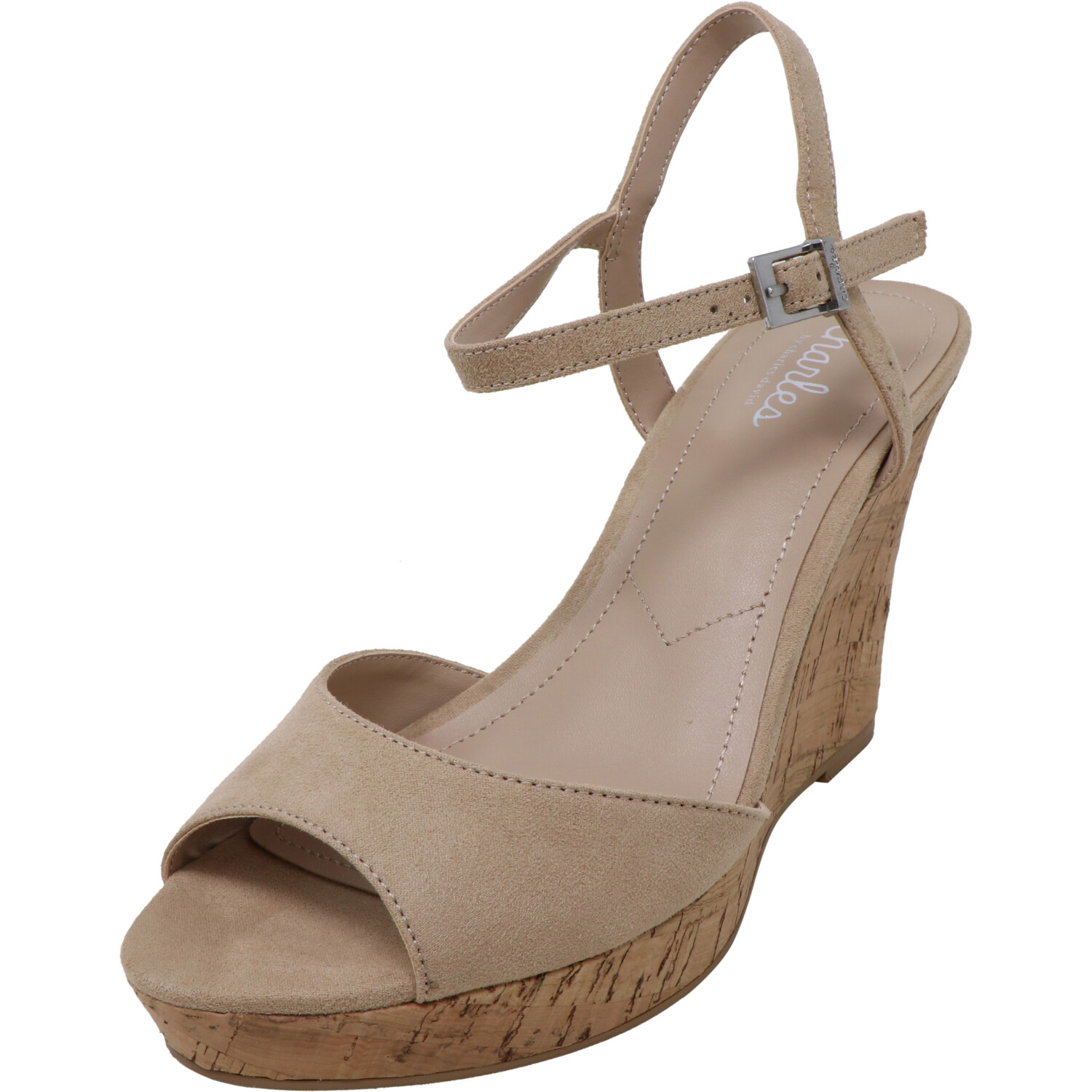 Charles By David Women's Lambert Microsuede Nude Ankle-High Suede Wedged Sandal - 10M