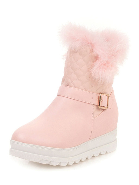 Milanoo Sweet Lolita Ankle Boots Diamond Pattern Furry PU Round Toe Pink Lolita Snow Boots