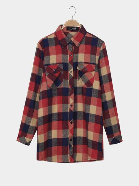 Yoins Check Long Sleeve Shirt