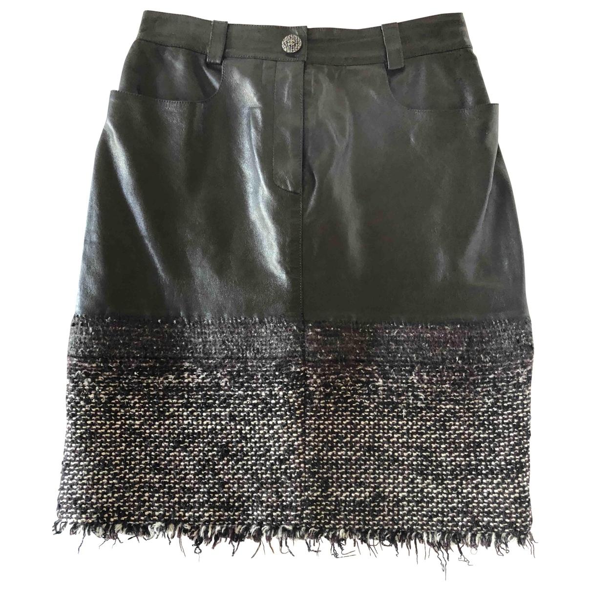 Falda midi de Cuero Chanel